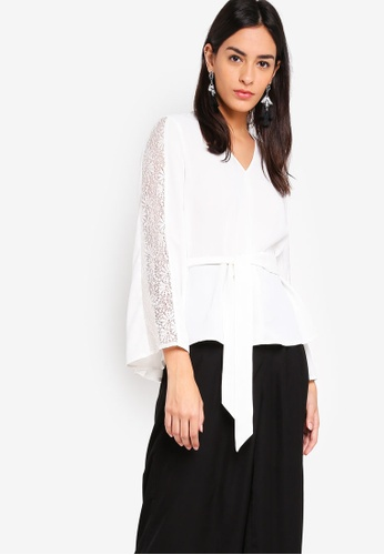 ZALORA white High Low Belted Top With Lace Details 29875AA3757B6DGS_1