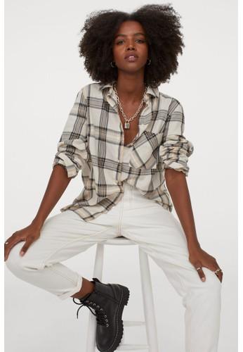 H&M beige Cotton shirt FEDD3AA70436A9GS_1