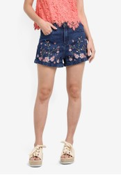 Something Borrowed blue Embroidery Mom Fit Shorts 71F0AZZ1ACAAC6GS_1