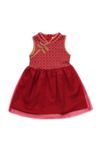 Mini Moley red Oriental Rings Print Cheongsam Inspired Girl's Bubble Dress C398BKA9625E77GS_1