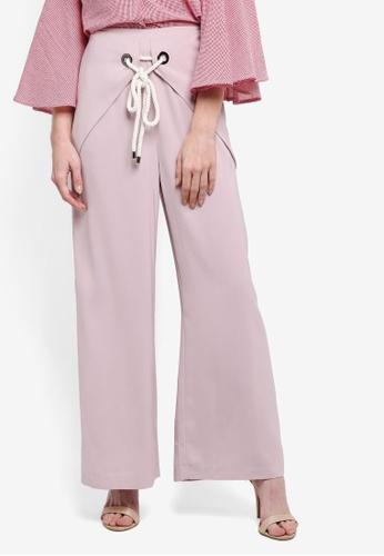 Zalia pink Wrap Tie Wide Leg Pants 83D20AA132C838GS_1