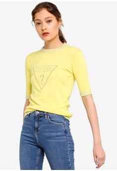 f3edb2a4 Guess yellow Embellished Guess Triangle Logo Knitted T-Shirt  0AC75AA49F1276GS_1