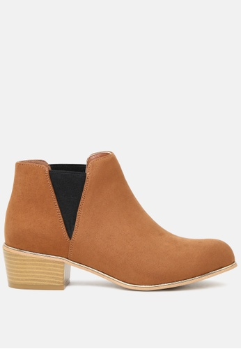 London Rag brown Slip-on Chelsea Boots with Stacked Heel SH1735 7FD76SH085581EGS_1