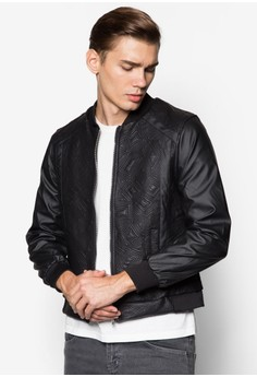 Geo Quilted PU Bomber
