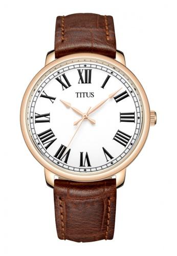Solvil et Titus brown Zeitgeist Women's 3 Hands Quartz Watch in Silver White Dial and Brown Leather Strap 14FD7ACF0D7C49GS_1