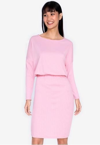 ZALORA BASICS pink Boat Neck Jersey Dress BCDE3AABD8B289GS_1
