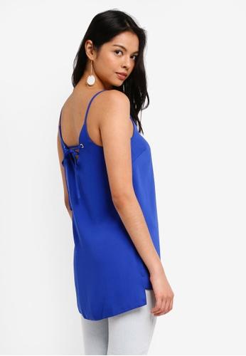 Dorothy Perkins blue Cobalt Eyelet Long Line Cami Top F8796AA6C9F4CFGS_1