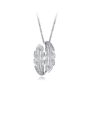 Glamorousky white Fashion Simple Leaf Pendant with Cubic Zircon and Necklace 25E1FAC0EF560CGS_1