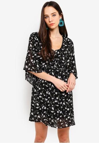 Something Borrowed black Front Tie Chiffon Swing Dress 876E7AAFF0191BGS_1