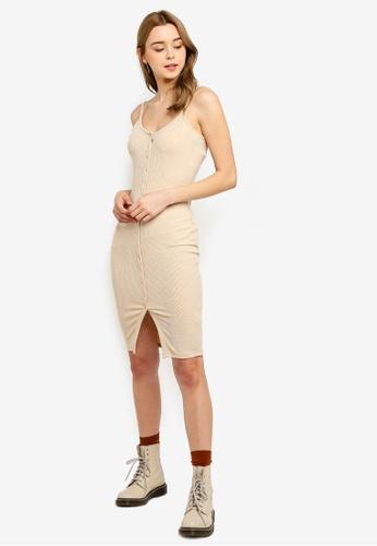 Supre beige Button Rib Cami Mini Dress 5C725AA580898CGS_1