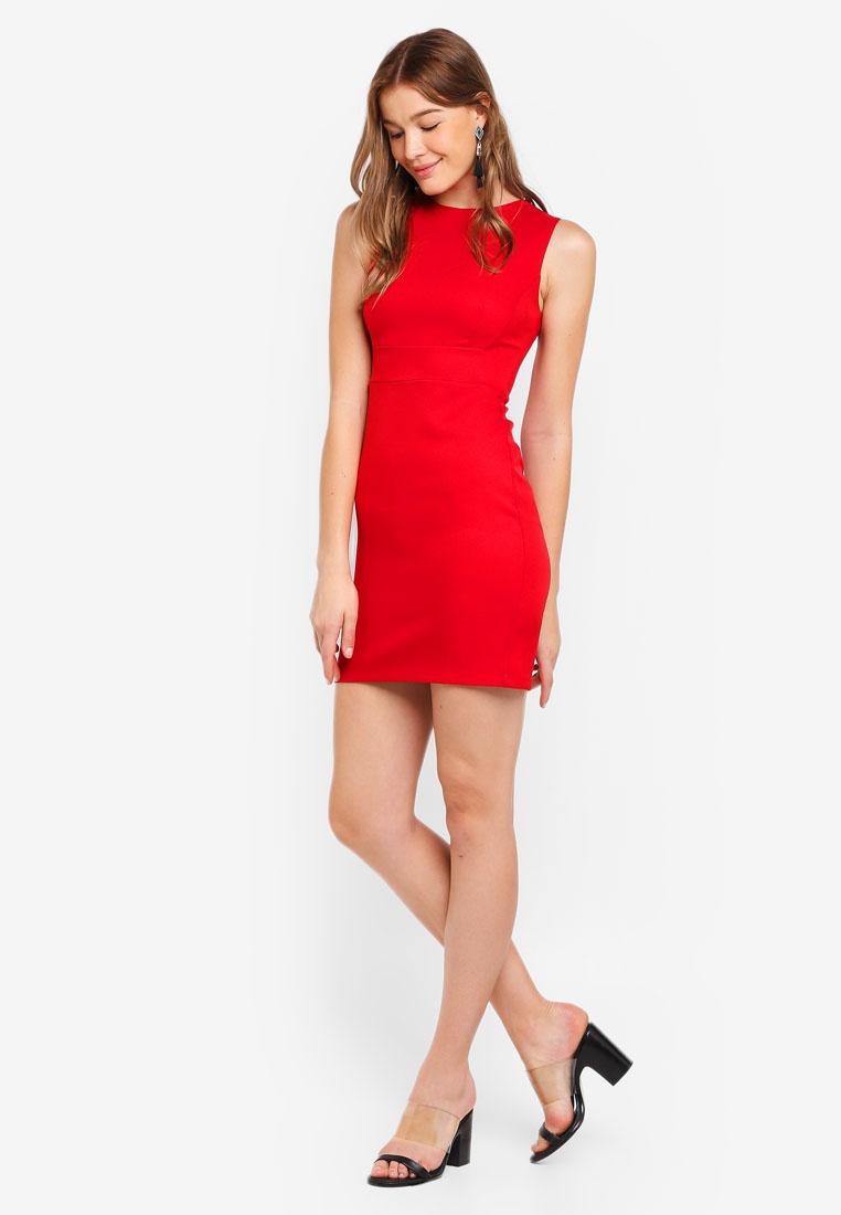 ZALORA BASICS Red Basic Sheath Slim Dress qnPZ0