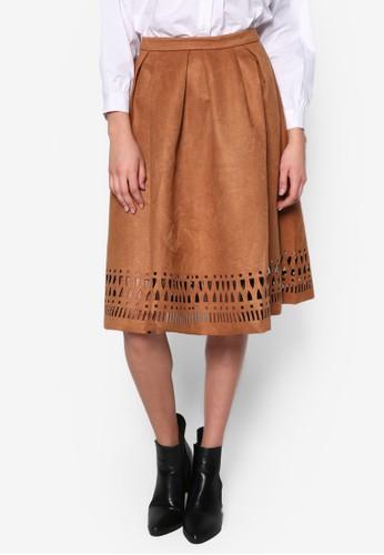 雕花褶飾及膝裙, 服飾, 及zalora時尚購物網的koumi koumi膝裙