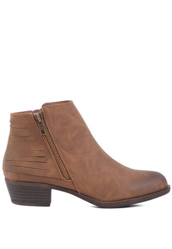 London Rag 褐色 拉链短靴 A7F93SH57E8572GS_1