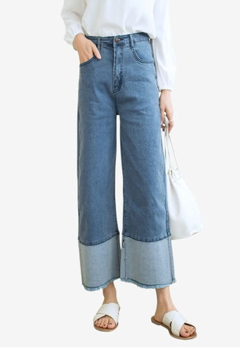 Tokichoi blue Cropped Cuffed Wide Jeans E383AAA269A6ACGS_1