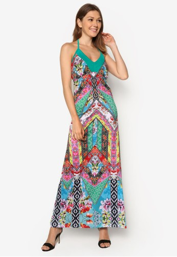 Fbentevi 印花細肩帶長zalora 手錶洋裝, 服飾, 夏日洋裝