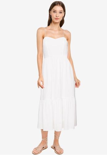 URBAN REVIVO white Crepe Flounce Dress 9D981AACA571EBGS_1