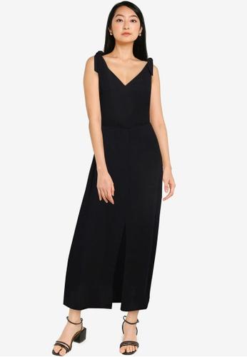 ZALORA BASICS black Tie Detail Maxi Dress 07C18AA4FD47C3GS_1