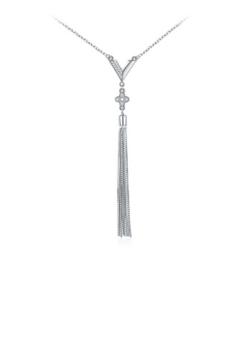 Glamorousky silver 925 Sterling Silver Simple Tassel Necklace 2D281ACD43C7B7GS_1