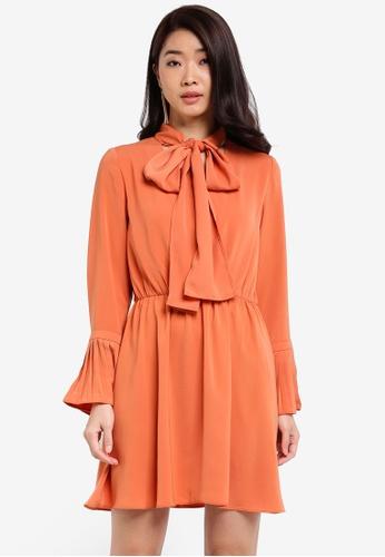 ZALORA orange Tie Neck Ribbon Dress 3CC56AAA0CA405GS_1