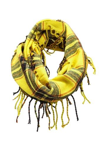 GLOBAL WORK yellow Fringe Scarf 98F65KC2FE3C66GS_1