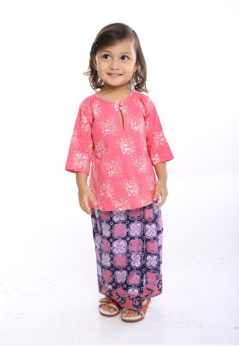 AYAYU white and red and pink and blue and purple and multi and beige JASMINE Baju Kedah with Sarong Handblocked Batik Red 963C9KA08C4A54GS_1