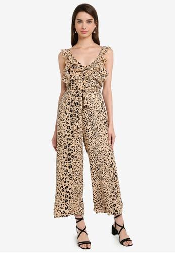 INDIKAH multi Leopard Print Ruffle Neck Jumpsuit ED958AADCBDA36GS_1