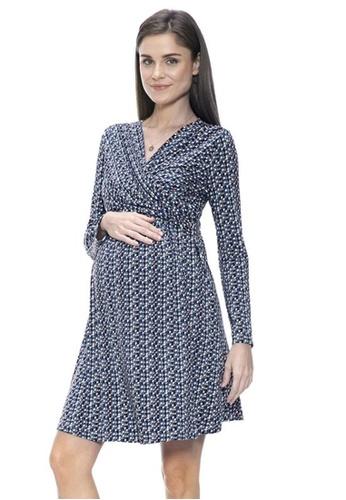 Mayarya blue Print Crossover Dress 4AEFCAAEF826F5GS_1