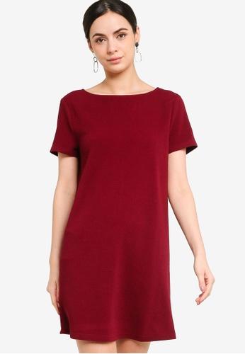 ZALORA WORK red Overlap Detail Shift Dress A2CFBAA799C98DGS_1