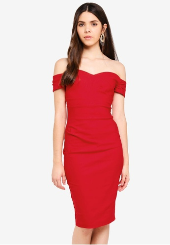 Vesper red Vesper Aria Bardot Midi Dress With Pleat Detail 233B8AA50CB2B4GS_1