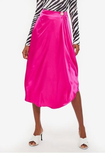6cf4a08396 Buy TOPSHOP Satin Drape Midi Skirt | ZALORA HK