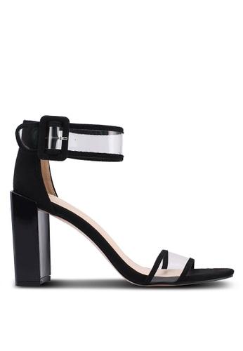 Public Desire black Cannes Perspex Straps Detail Heels 5EA1ASH469AB03GS_1