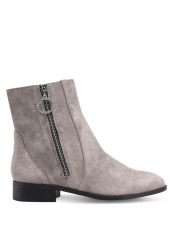 TOPSHOP grey Kick Ankle Boots A69B1SHC4C9A2CGS_1