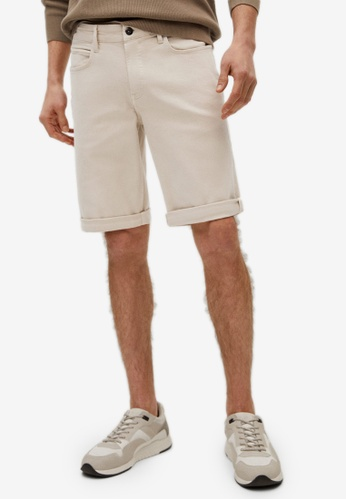 MANGO Man beige Stretch Cotton Denim Shorts B227FAA8AB0BB8GS_1