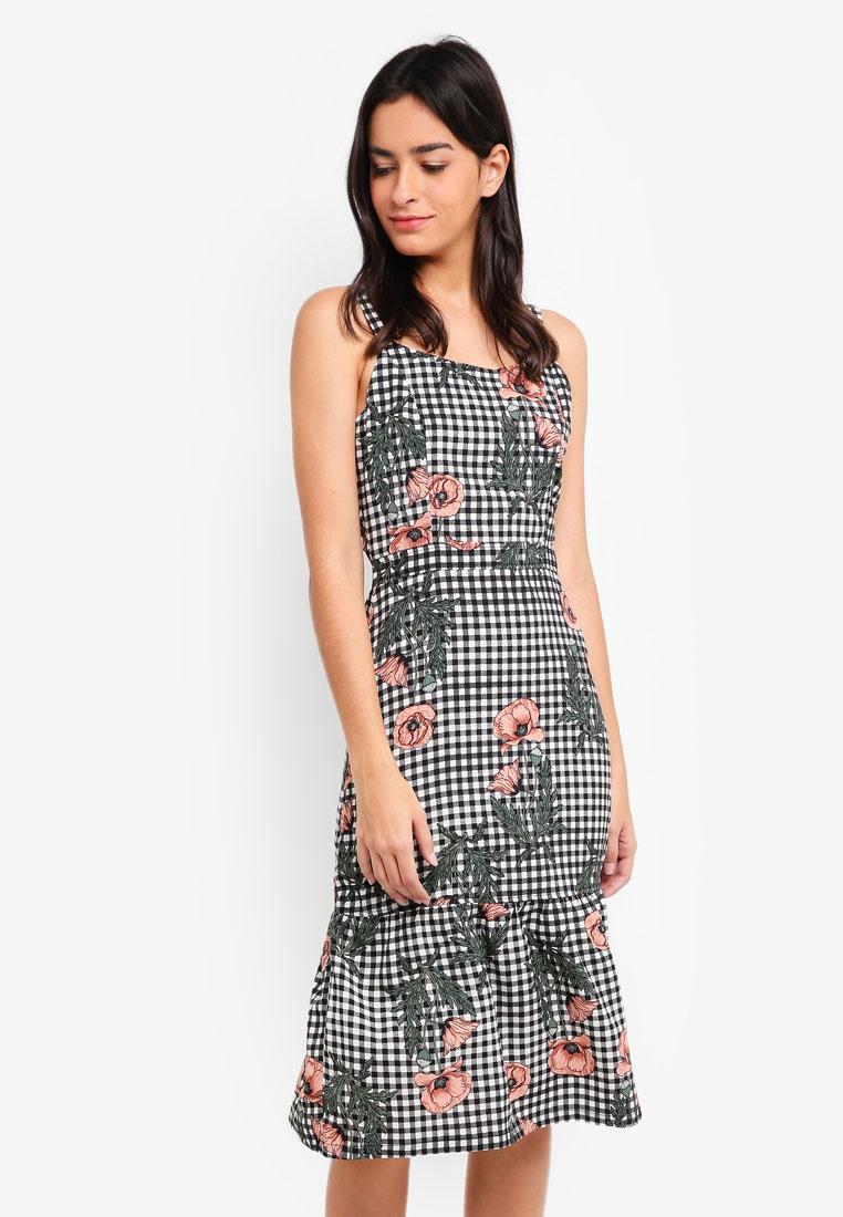 Floral Dress ZALORA Strap Midi Gingham xfqtRB4w
