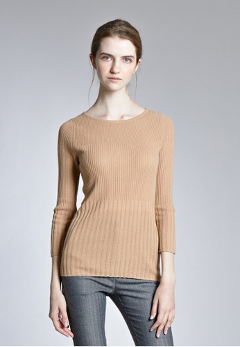 KLAPS beige Contrast Knit Sweater B8066AA0837FACGS_1