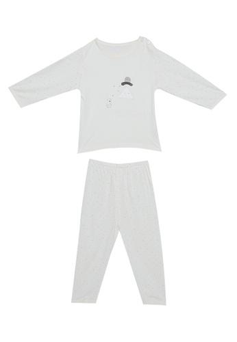 MICK + MARTY yellow Bear Print Shoulder Button Pyjama Set A5720KA3A2974EGS_1