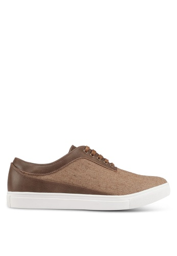 JAXON brown Mixed Materials Linen Sneakers AAC4FSH9398779GS_1