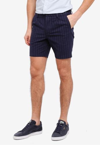 Topman navy Navy Pinstripe Shorts E7991AA12BCA92GS_1