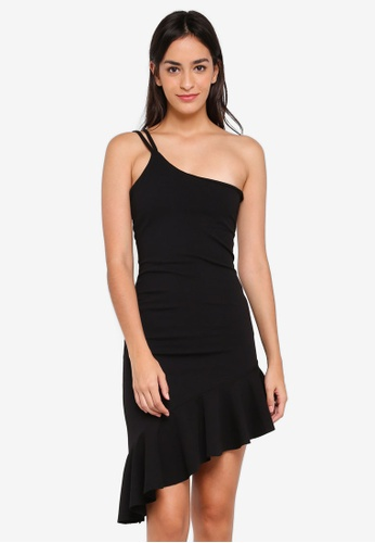 MISSGUIDED black One Shoulder Frill Hem Fuax Suede Dress 17F8CAA48E529CGS_1