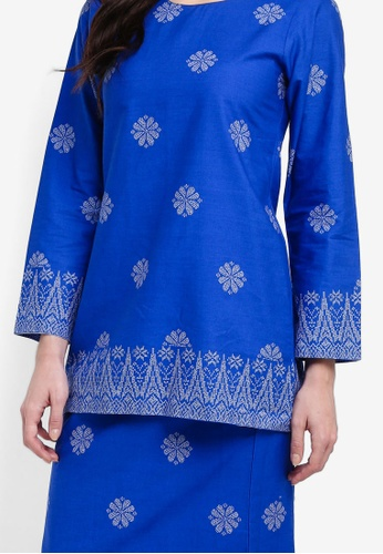 Buy Cotton Modern Kurung With Songket Print (Tabur) from Kasih in Blue and Silver only 199
