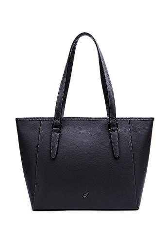 ENZODESIGN black ENZODESIGN Saffiano Leather Top Shoulder Tote B12183BLK E2C86AC945A911GS_1