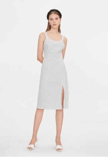 Pomelo white Side Slit Polka Dot Sleeveless Dress - White 3442CAA16FAF1EGS_1