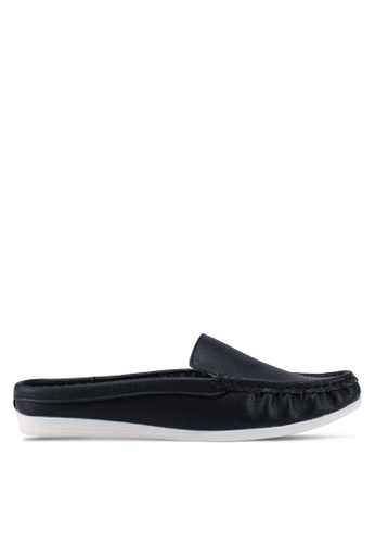 Bata 黑色 舒適懶人樂福鞋 393E3SHDC7D00CGS_1