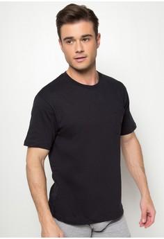 Black Round Neck Undershirt with Pocket