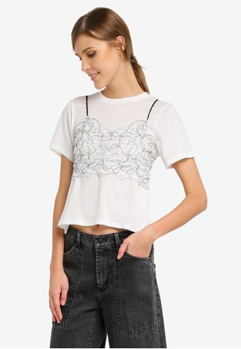 TOPSHOP white PETITE Lace Bralet T-Shirt TO412AA0SLCGMY_1
