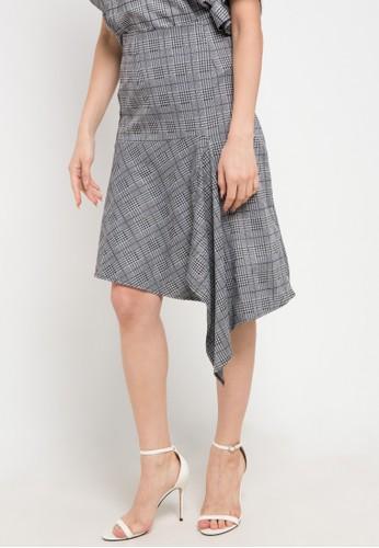 Uptown Girl multi and grey Asym Hem Skirt 2121BAABD97E33GS_1