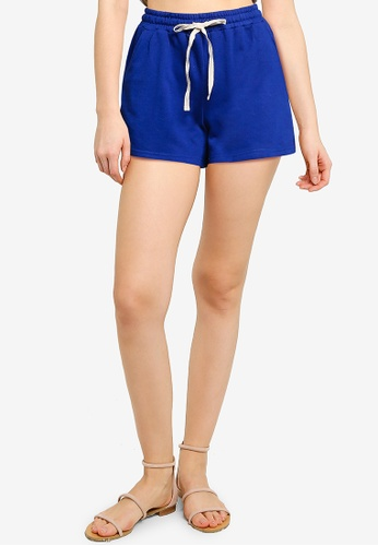 UniqTee blue Cotton Shorts With Drawstring 1C095AAC55080FGS_1