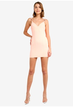 a971a627f52b0c Miss Selfridge Petite Pink Buckle Strap Bodycon Dress S  89.90. Available  in several sizes