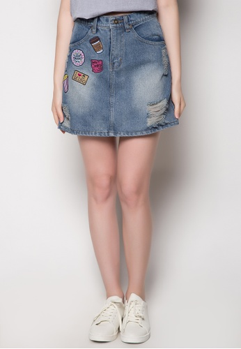 NEXT blue Distressed Skirt with Patches AD3E4AAF5B9C6EGS_1