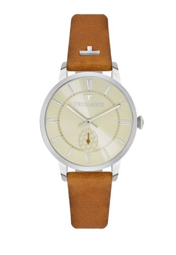 Trussardi brown T-Genus Quartz Watch R2451113505 Brown Leather Strap 1CBA3ACC6E4B8EGS_1